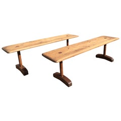 Pair of Benches, Industrial, Farm, Rustic, Wood, Brown