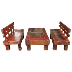 Pair of Benches with Lacquered Table, 20th Century