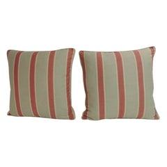 Pair of Bennison Teeth Stripe Square Decorative Pillows