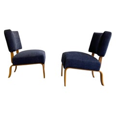 Pair of Bent Maple Upholstered Slipper Lounge Chairs by Thonet