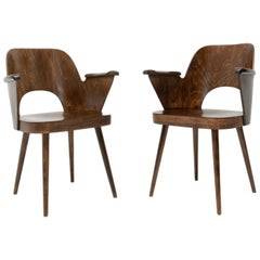 Pair of Bent Plywood Armchairs by Oswald Haerdtl for TON, 1960s