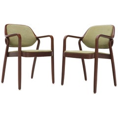 Pair of Bent Walnut Wood Dining Chairs by Knoll