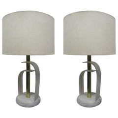 Pair of Bentwood and Brass Cerused Oak Lamps