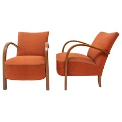 Pair of Bentwood Armchairs H-213 by Jindřich Halabala for UP Závody, 1930s