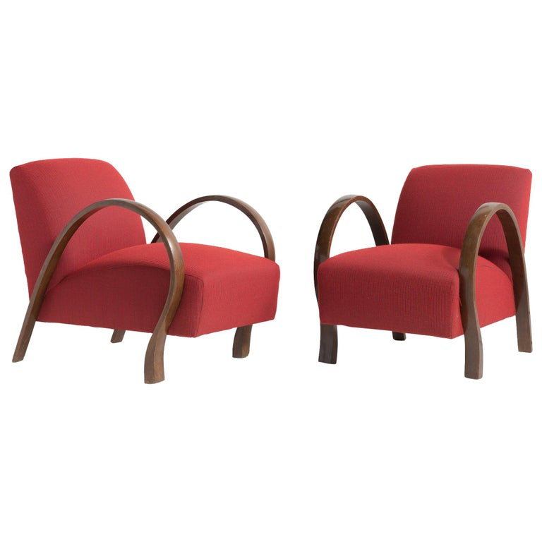 Pair of Bentwood Armchairs, Italy, circa 1930 For Sale