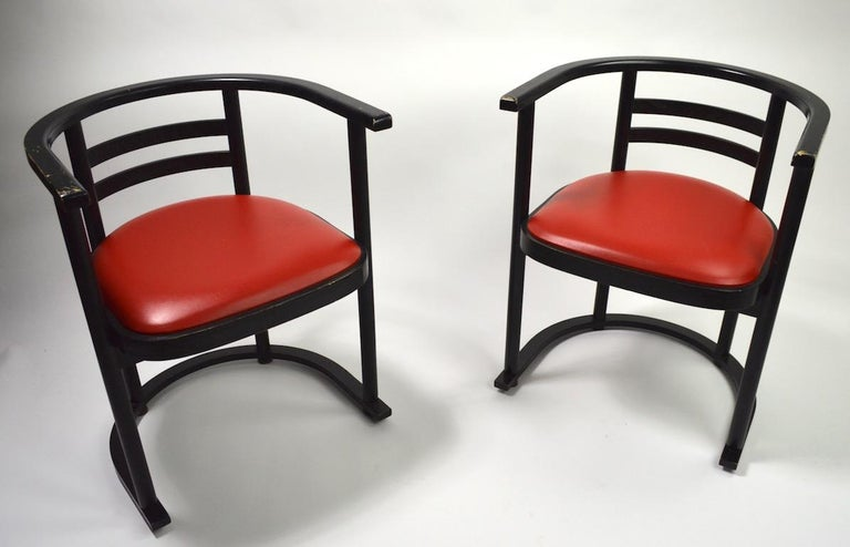 Vienna Secession Pair of Bentwood Chairs after Hoffman for Thonet For Sale