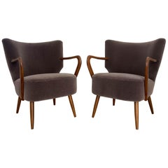 Pair of Bentwood Office Chairs in Subtle New Mohair