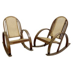 Pair of Bentwood Rocking Chairs with Sitting and Back in Caning