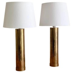 "Pair of Bergboms ""B-09"" Table Lamps in Brass, 1960s"