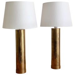 "Pair of Bergboms ""B-10"" Table Lamps in Brass, 1960s"