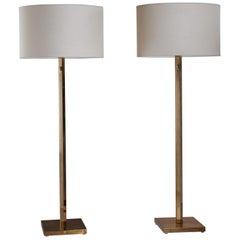 Pair of Bergboms Brass Floor Lamps, Sweden, 1960s
