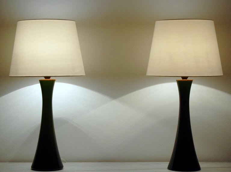 Scandinavian Modern Pair of Bergboms Green Glass Table Lamps, 1960s For Sale