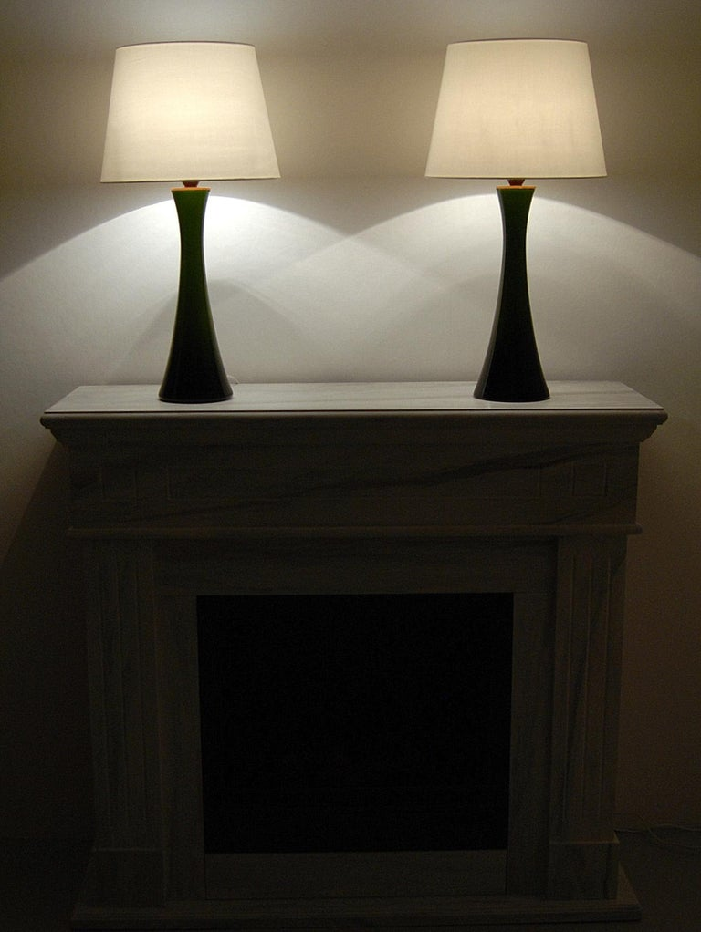 Swedish Pair of Bergboms Green Glass Table Lamps, 1960s For Sale