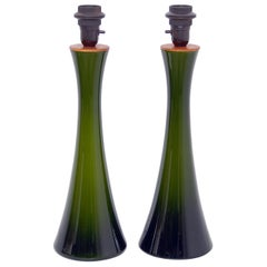 Pair of Bergboms Green Glass Table Lamps, 1960s