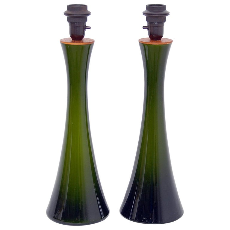 Pair of Bergboms Green Glass Table Lamps, 1960s For Sale
