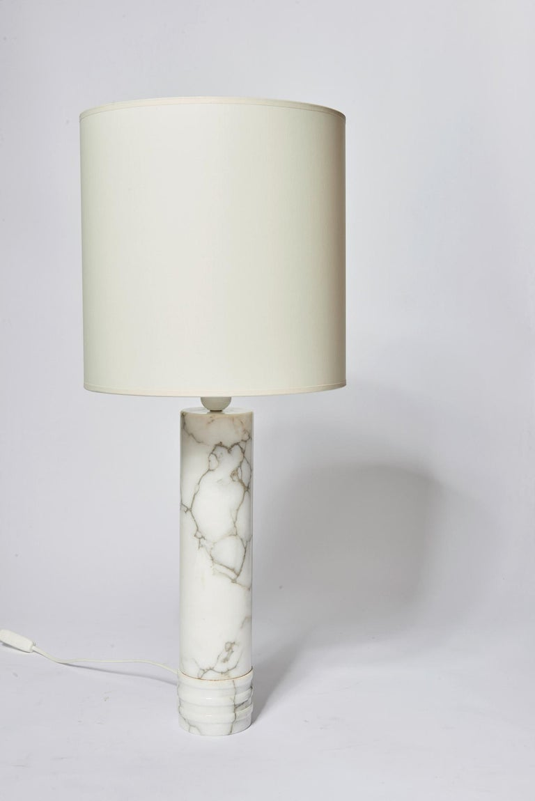 Pair of white marble table lamps by Bergboms.