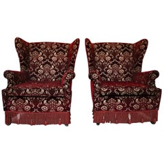 Pair of Bergere Armchairs in Damask Velvet and Fringes Italy, 1950
