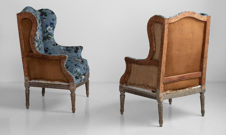 Newly upholstered in velvet from House of Hackney, original paint remnants on carved wooden legs.   Measures: 23.75
