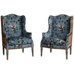 Pair of Bergere Armchairs in Velvet from House of Hackney