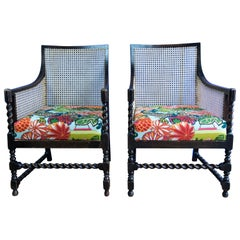 Pair of Bergère Beech Chairs with New Canework Featuring Schumacher Fabric