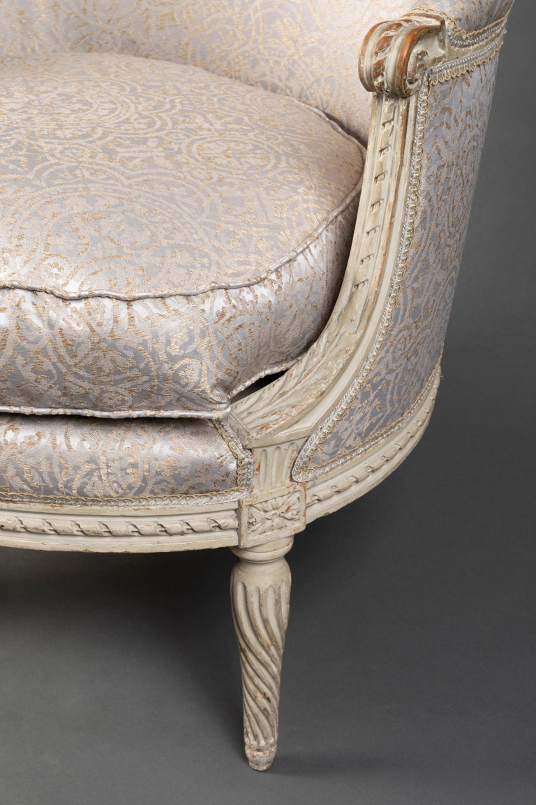 Pair of Bergère Chairs from the Louis XVI Period Stamped, Delanois, 18th Century For Sale 8