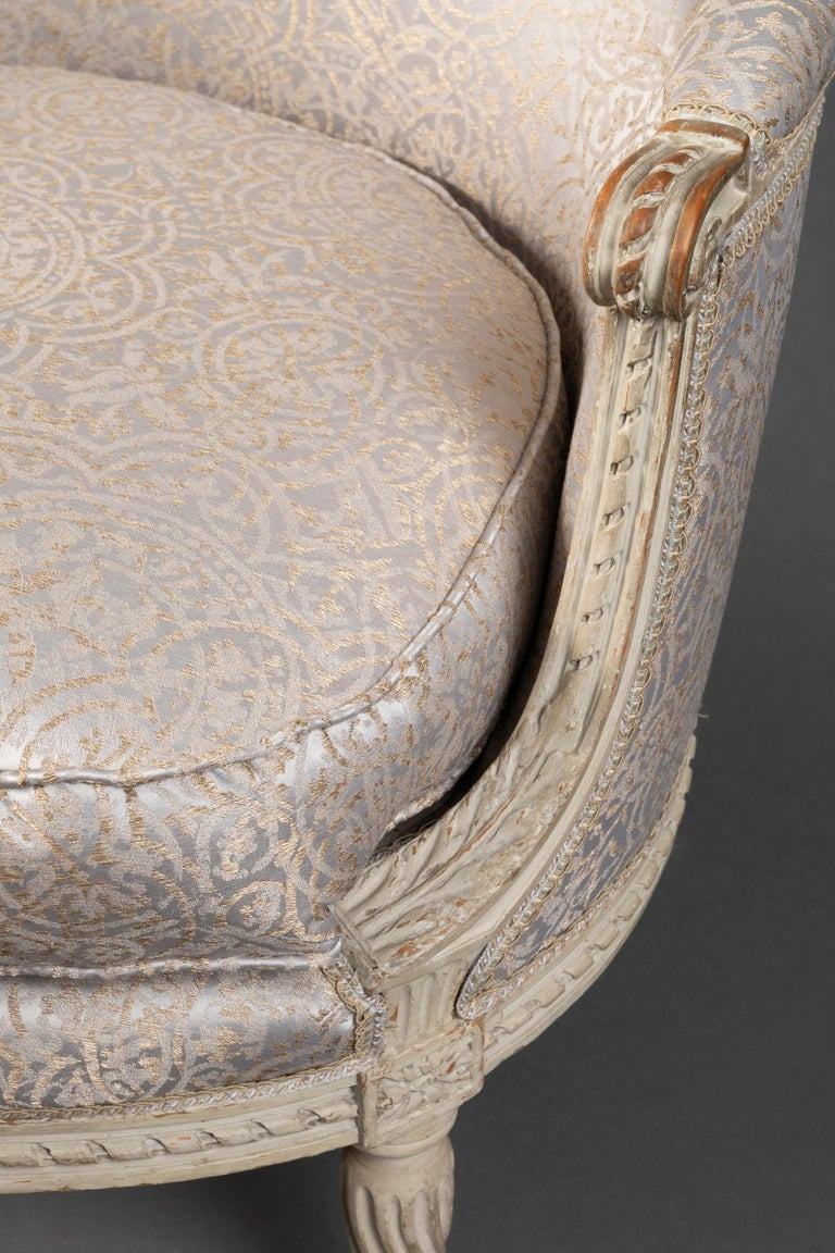Pair of Bergère Chairs from the Louis XVI Period Stamped, Delanois, 18th Century For Sale 9