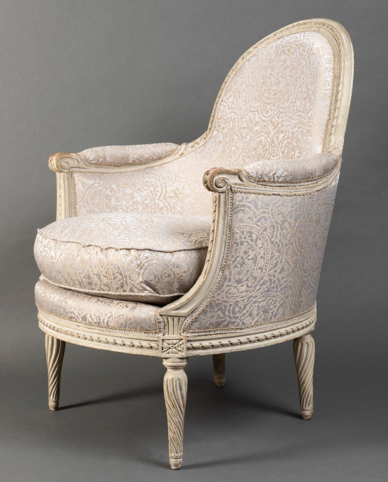 Pair of Bergère Chairs from the Louis XVI Period Stamped, Delanois, 18th Century For Sale 11
