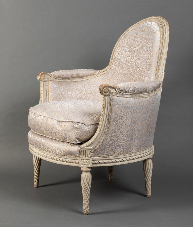 French Pair of Bergère Chairs from the Louis XVI Period Stamped, Delanois, 18th Century For Sale