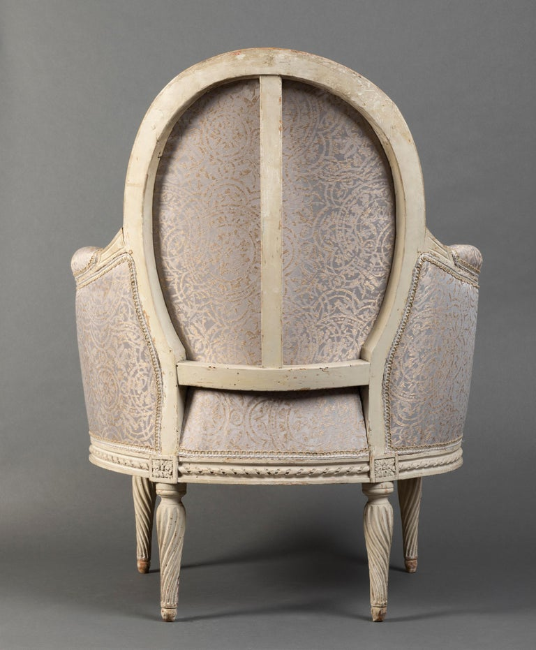 Silk Pair of Bergère Chairs from the Louis XVI Period Stamped, Delanois, 18th Century For Sale
