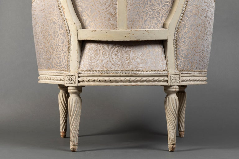 Pair of Bergère Chairs from the Louis XVI Period Stamped, Delanois, 18th Century For Sale 1
