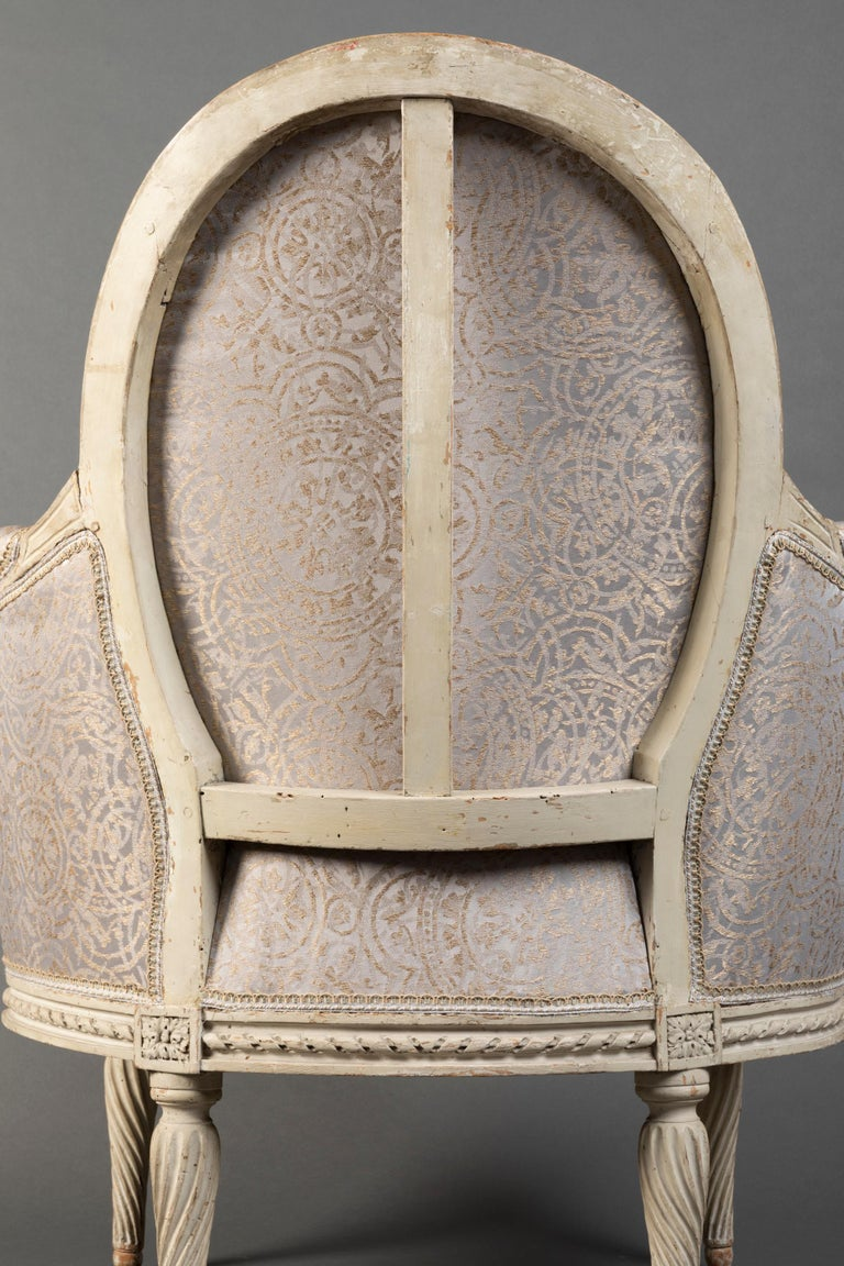 Pair of Bergère Chairs from the Louis XVI Period Stamped, Delanois, 18th Century For Sale 2