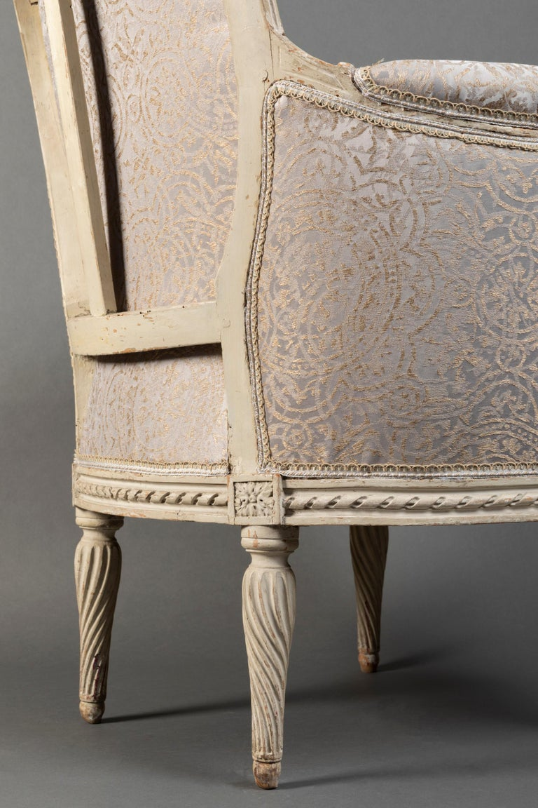 Pair of Bergère Chairs from the Louis XVI Period Stamped, Delanois, 18th Century For Sale 4