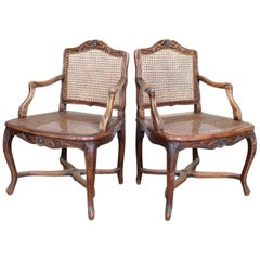Pair of Bergère Chairs Swedish Armchair Carved Mahogany Elbow Continental