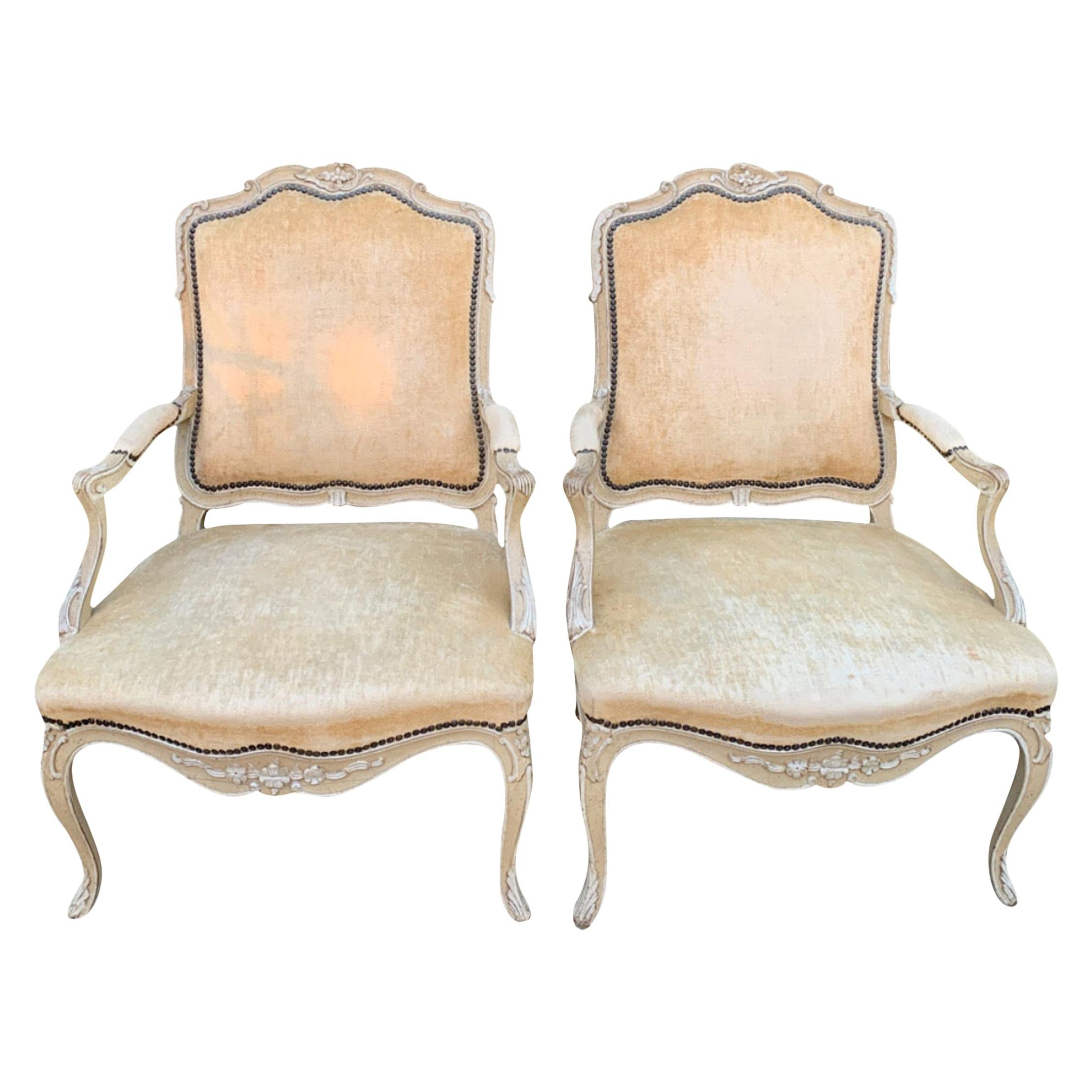 Pair of Bergere Fauteuil Chairs in the Style of Louis XV