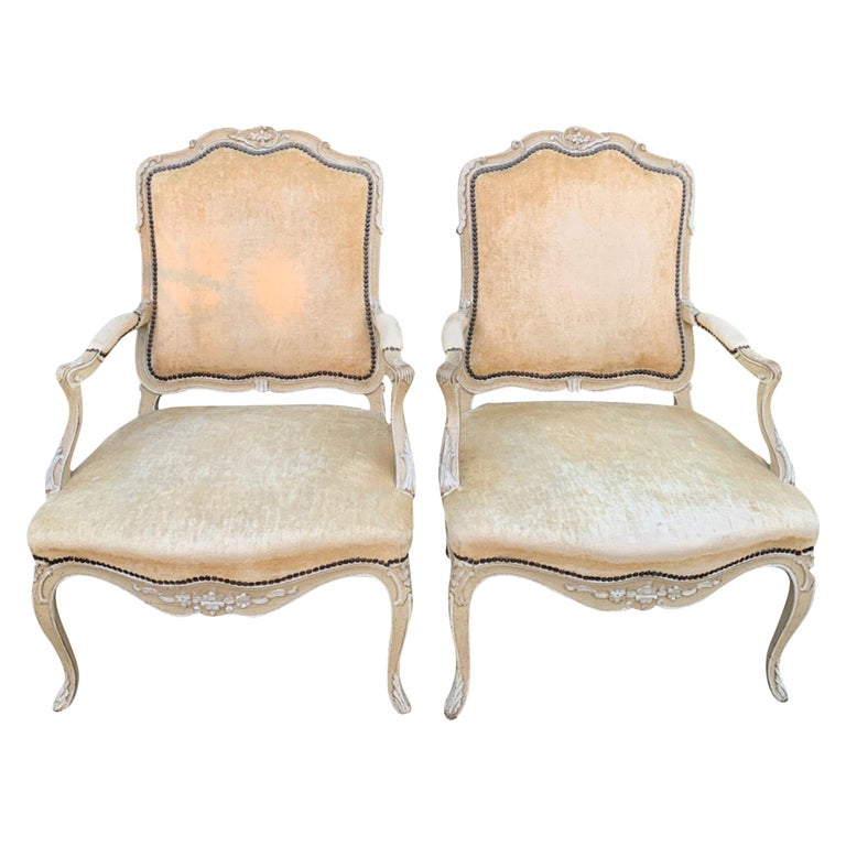 Pair of Bergere Fauteuil Chairs in the Style of Louis XV For Sale