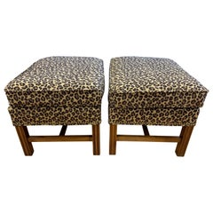 Pair of Berhardt Leopard Print Ottomans Stools Nailhead Newly Upholstered