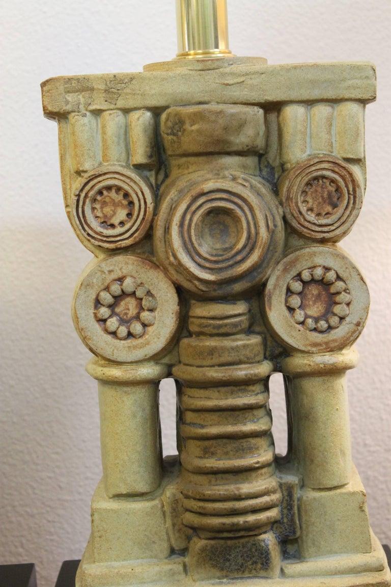 Late 20th Century Pair of Bernard Rooke Ceramic Lamps For Sale