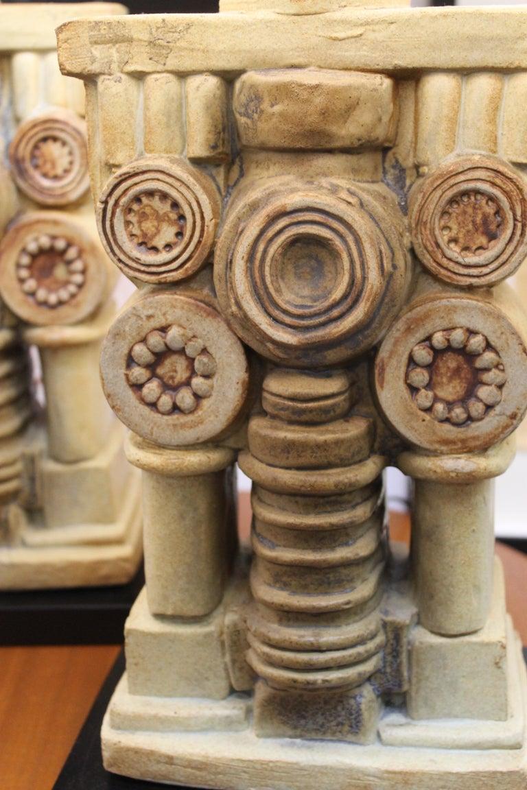 Pair of Bernard Rooke Ceramic Lamps For Sale 3
