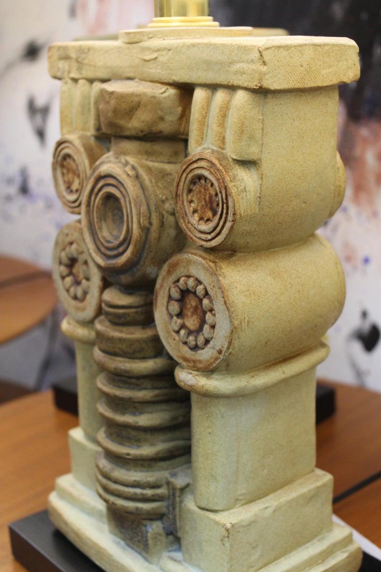 Pair of Bernard Rooke Ceramic Lamps For Sale 4