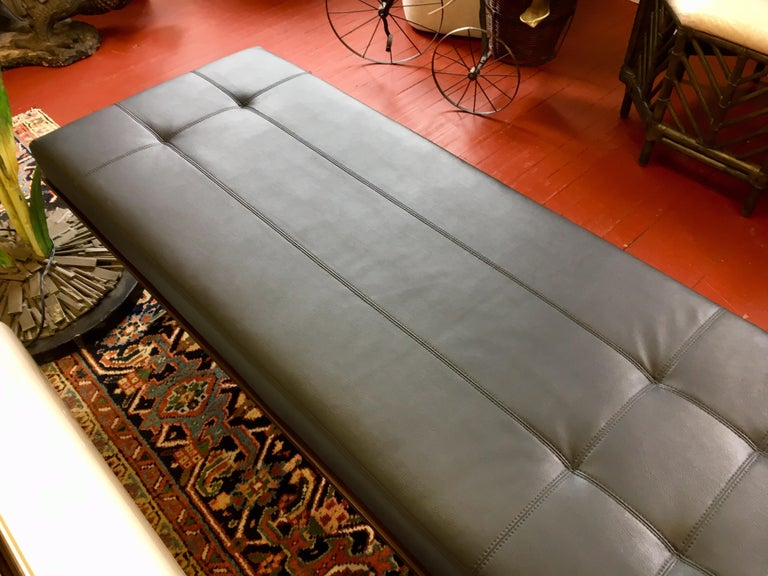 Steel Pair of Bernhardt Black Leather & Mahogany Chaise Lounge Settees Lounger Daybeds For Sale