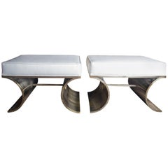 Pair of Bernhardt Curved Steel and Upholstered Benches