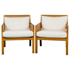 Pair of Bernt Petersen Caned Lounge Chairs Reupholstered in White Maharam Linen