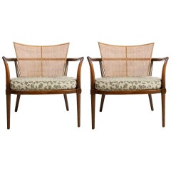 Pair of Bert England Midcentury Lounge Chairs with Walnut, Brass and Cane Backs