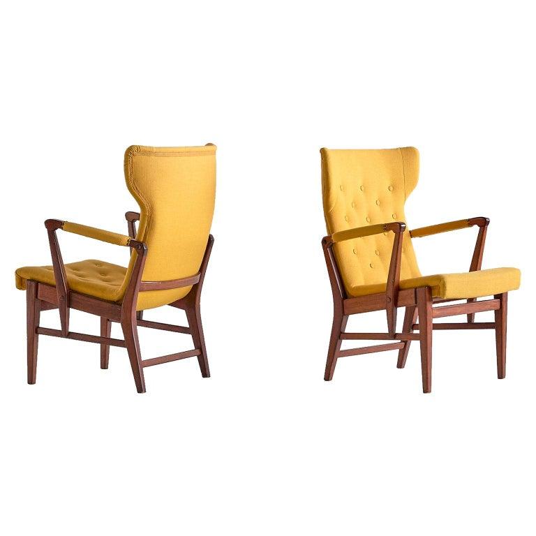 Pair of Bertil Söderberg Armchairs in Mahogany for Nordiska Kompaniet, 1940s For Sale