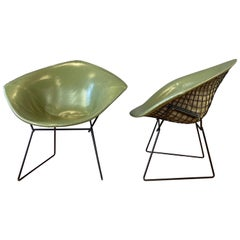 Pair of Bertoia for Knoll 421L Diamond Chairs with Original Covers, Early 1960s