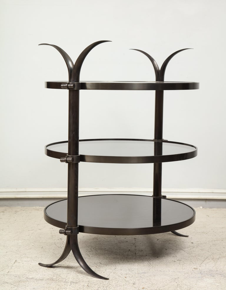American Pair of Bespoke Bronze Tulip Tables Designed by Amir Khamneipur For Sale