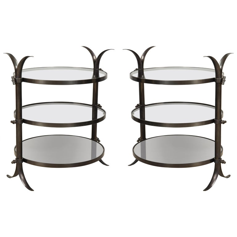 Pair of Bespoke Bronze Tulip Tables Designed by Amir Khamneipur For Sale