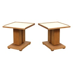 Pair of Bespoke Cerused Oak and Parchment Tables in the Dupre Lafon Manner