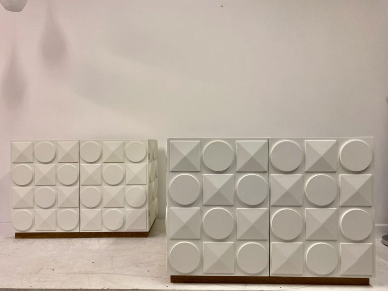 Pair of Italian White Postmodern Style Cabinets For Sale 3