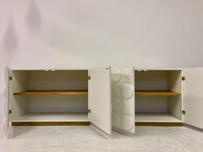 Pair of Italian White Postmodern Style Cabinets For Sale 4
